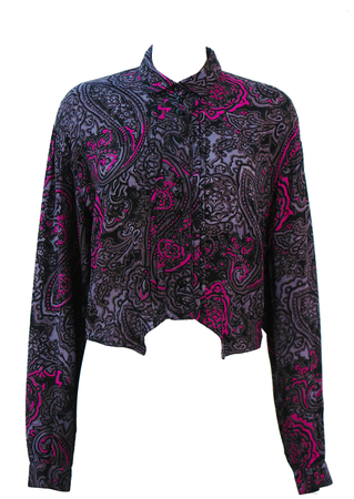 Vintage 80's Blouse with Grey, Pink & Black Abstract Pattern - M