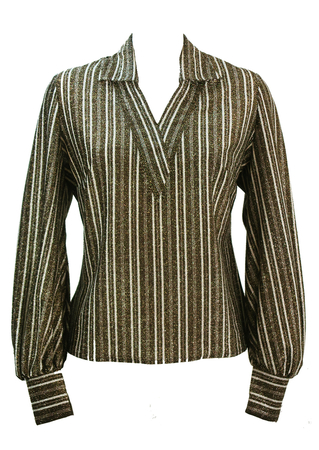 Vintage 60's Metallic Brown & Silver Striped Top - L