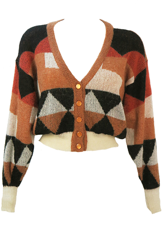 Cropped Cardigan with Russet, Camel, Cream & Black Geometric Pattern - S/M