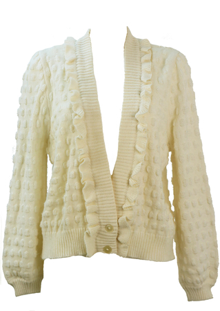 Textured Polka Dot Patterned Cream Knit Cardigan with Frill Edging - M/L