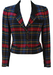 DAKS Cropped Red, Green & Blue Tartan Jacket with Suede Collar - S/M