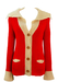 Red & Cream Chunky Knit Cardigan with Open Collar Detail - S/M