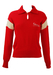 Red Jumper with Cream Stripe Sleeve Detail & Buttoned Collar - S