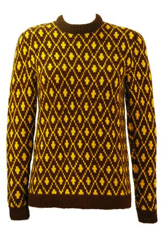 Brown & Yellow Geometric Diamond Patterned Jumper - S/M
