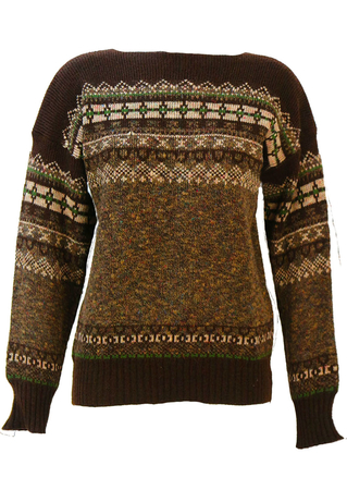 Brown, Green & Cream Fair Isle Patterned Jumper with Slash Neck - M