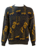 Grey Knit Jumper with Abstract Yellow & Navy Pattern - L/XL