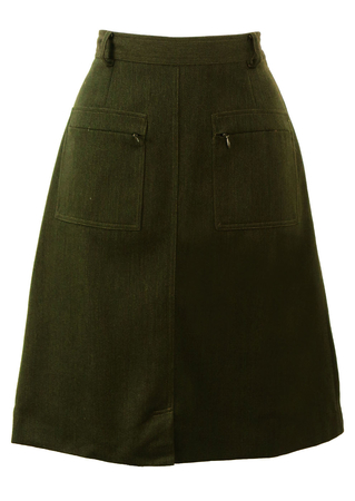 High Waist, Knee Length Olive Green skirt with Zip Front Pockets - S