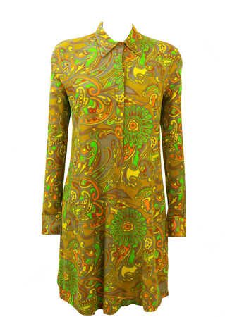Vintage 60's Psychedelic Abstract Floral Print Dress - M