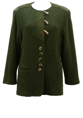 Forest Green Wool & Suede Tyrolean Jacket - M