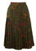 Pleated Charcoal Grey Midi Skirt with Green, Ochre & Red Paisley Floral Pattern - S/M