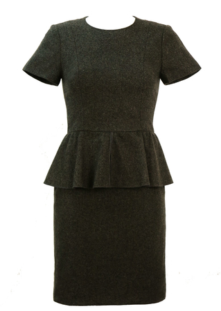 Charcoal Grey Peplum Pencil Dress - XS/S