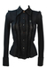 Guess Black Sheer Blouse with Ruffle Design & Coloured Diamante Buttons - XS