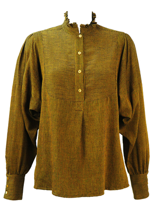 Ochre & Black Fine Stripe Blouse with Ruffle Collar and Voluminous Sleeves - M