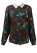 Floral Patterned Blouse in Teal, Ochre & Plum with White Collar - M/L