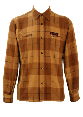 Check Patterned Wool Shirt in Camel, Brown & Black - M