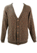 Knit Cardigan with Stripes & Squares Pattern in Red, Beige, Blue & Green - M/L