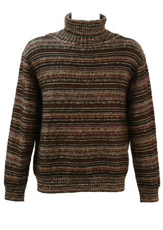 Missoni Sport Striped Roll Neck Jumper in Blue, Russet, Black & Grey  - M/L