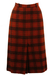 Wool Midi Skirt with a Russet & Black Check Pattern & Front Pleat Detail - S