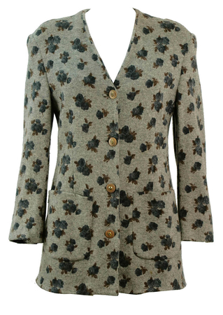 Soft Grey Casual Fit Floral Woollen Jacket - M