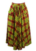 High Waisted Midi Circle Skirt with Burgundy & Green Check Pattern - S