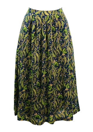 Blue, Green & Taupe Paisley Patterned Midi Length Flared Skirt - S