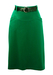 Emerald Green Wool Fitted Midi Skirt with Decorative Belt - Unworn - S/M