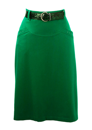 Emerald Green Wool Fitted Midi Skirt with Decorative Belt - Unworn - S/M