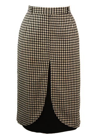 Black & White Houndstooth Check Wool Skirt with Black Cut Away Detail - S/M