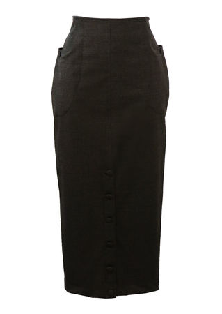 Grey Midi Length, Bodycon Pencil Skirt with Front Button Detail - S