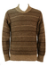 Brown & Beige Striped Knit Jumper with Crossover Collar Detail - S