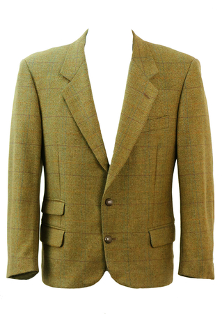 Roberta di Camerino Green Tweed Jacket with Suede Elbow Patches - M