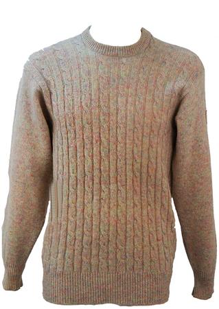 Trussardi Virgin Wool Cream & Pastel Fleck Cable Knit Jumper - M