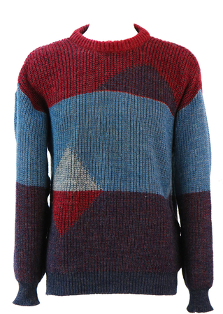 Burgundy, Maroon & Blue Chunky Knit Jumper with Geometric Pattern - L