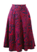 High Waisted Midi Flared Skirt with Fuchsia Pink & Purple Paisley Pattern - S