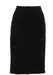 Black Stretch Bodycon Knee Length Pencil Skirt with Ruffle Stripe Design - M/L