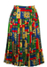 Pleated Knee Length Skirt with Red, Blue, Green & Gold Heraldic Print - S/M