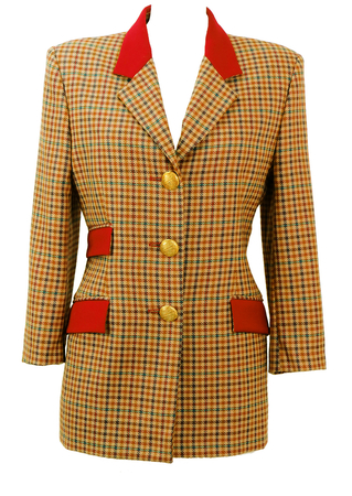 Camel Jacket with Blue, Brown & Russet Check Pattern and Red Pocket Detail - M
