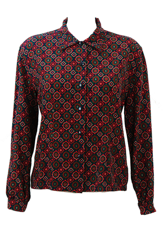Navy Blue Blouse with Red and Green Pattern - M/L
