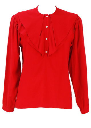 Max Mara 'Penny Black' Red Blouse with Layered Collar Detail - M