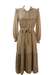 Long Camel Coloured Prairie Dress with Ruffle Detail & Paisley Pattern - M
