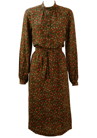 Navy, Red & Green Ditsy Floral Print, Long Sleeved Midi Dress - M