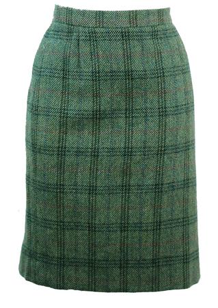 Green Woollen Tartan Pencil Skirt with Russet Highlights - M