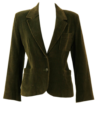 Jaeger Olive Green Corduroy Jacket - M
