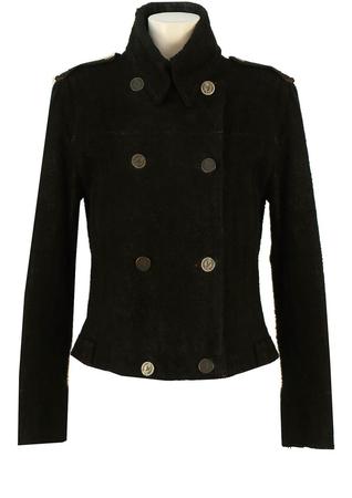 Armani Jeans Black Leather Jacket - M
