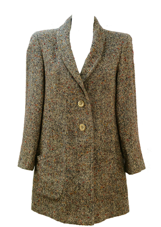 Speckled Multi Coloured Tweed Coat with Asymmetric Pockets - M/L