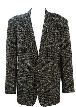 Pal Zileri Black & White Check Wool Jacket with Electric Blue Flecks - L/XL