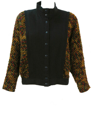 Cropped Navy Blue Wool Jacket with Multicoloured Batwing Sleeves - M
