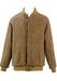 Brown & White Herringbone Bomber Jacket with Fleece Lining - L