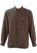 Burgundy and Grey Striped Wool Shirt - M/L