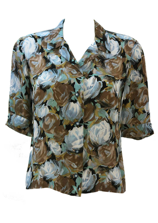 Short Sleeved 50's style Floral Patterned Blouse in Brown, Blue & Jade  - M